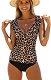 Beachsissi Tankini Swimsuit Leopard Print Sexy Deep V High Waisted Bathing Suit