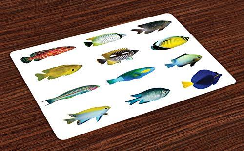 ABAKUHAUS Fisch Platzmatten, Ägyptischer Fisch mit Bannerfish-Goldfisch-Papageienfisch-Tier-Natur-Rot-Meer-Thema-Bild, Tiscjdeco aus Farbfesten Stoff für das Esszimmer und Küch, Mehrfarbig