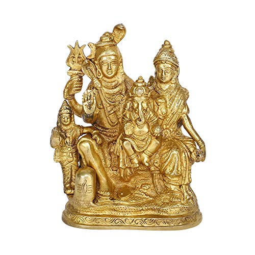 GURU JEE Estatua de latón Lord Shiva Mata Parvati Ganesha Kartikeya Gifts Pooja Mandir
