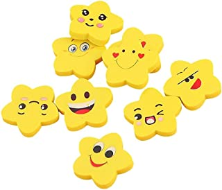 Koogel Emoji Pencil Erasers - 200 Piece Random Star Face Yellow, School Supply, Party Favor, Goody Bag Filler,, for Boys and Girls of All Age and Xmas Presents