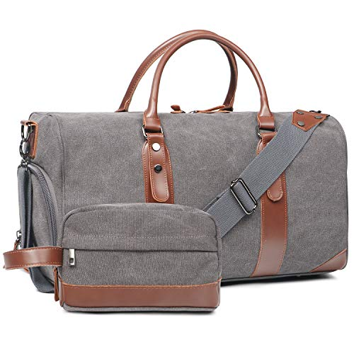 Oflamn Large Duffle Bag Canvas Leather Weekender Overnight Travel Carry On Tote Bag with Shoe Compartment and Toiletry Bag (Grey)