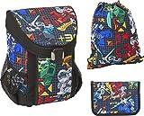 LEGO Bags Schulranzen Set EASY, 3 teilig, Ranzen nur 790 g, Schulset mit LEGO NINJAGO Prime Empire Motiv, Büchertasche ca. 39 x 29 x 22 cm, 18 Liter, Ranzenset mit gefüllter Federmappe und Sportbeutel