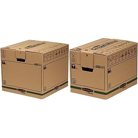 Fellowes Caisses de Déménagement, Carton Double Epaisseur SmoothMove, 85 L, 40,5 x 45,5 x 45,5 cm (Lot de 5) & Caisses de Déménagement,Carton Double Epaisseur, 37,5 ltr, 30 x 30 x 40,5 cm (Lot de 5)