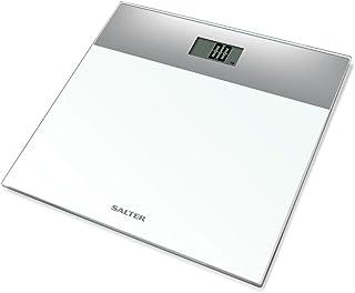 Salter 9206 SVWH3R Báscula de baño electrónica en vidrio templado, capacidad 180 KG, 15 años de garantía, Blanco / plata