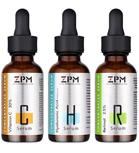 3 Pack Serums Kit for Face with Vitamin C Serum, Retinol Serum, Hyaluronic Acid Serum - Skin Care...