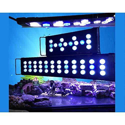 TOUID Iluminación LED para Acuario, Pantalla Luz lED de Acuario, Soporte Ajustable 30-120 cm,Lámpara LED Blanco y Azul para Acuarios de Peces y Estanques,120cm75w