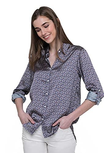 Blusa Informal para Mujer, Camisa Estampada con Botones - Valecuatro