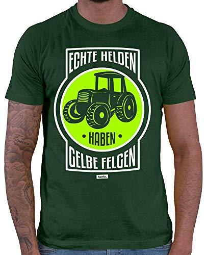 Hariz – Camiseta para hombre con diseño de llantas amarillas y texto en inglés 'Echte Helden Haben' verde oscuro L