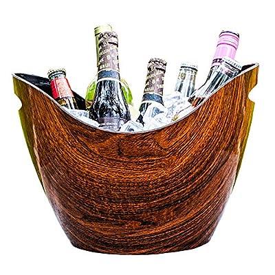 BREKX Vibrant Rich Cherry-Oak Wood Curved Beverage Tub & Premium Wine Party Bucket- 8 Quarts
