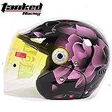バイク 半帽ヘルメット T523 ダブルシールド サイズは選択可 インナー脱着可 オートバイク シールド付き メンズ レディース ハーフ  パイロット オシャレ オールシーズン ジェットヘルメット  オープンフェスヘルメット (XL)