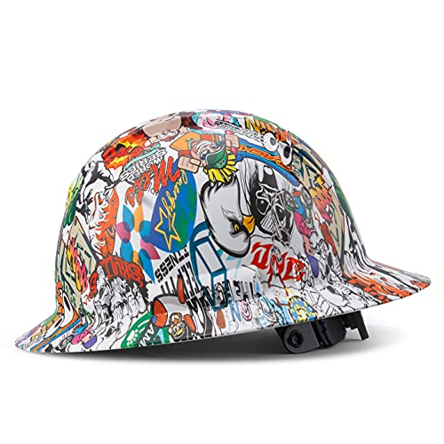Full Brim Hard Hat Construction OSHA Approved Hardhats, Men Women Safety Helmet, 4 Point, Custom Cartoon Design, Flag Decal, by Acerpal, Character Chaos