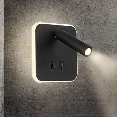 Esta Bañador de pared Dormitorio es 360° giratoria. Colores claros: blanco cálido (3000K), la potencia:13W ( Lámparas de pared 10W + Focos 3W Cree COB), Dimensiones: 14.5x14 .5CM, Voltaje: AC85 - 265V. Apliques de lectura con Interruptor: 2 interrupt...