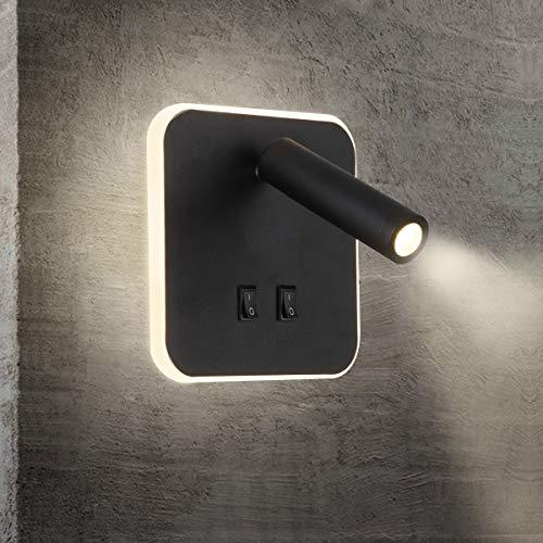 KAYIMAN Apliques para Lectura Dormitorio Interruptor volvible Aplique de Lectura LED luz cama Iluminación de Pared cabecera 360 gradosgiratoria Blanco Cálido Ligero 3000K (3W + 10W) (Cuadrado Negra)