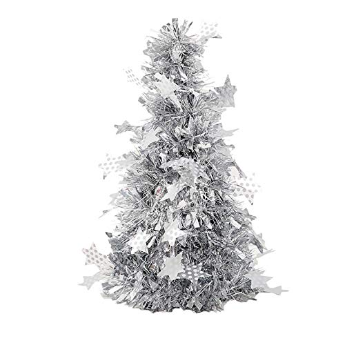 GBSELL Mini Christmas Tree-Artificial Tabletop Creative Mini Christmas Tree Decorations-for Xmas Holiday Indoor Outdoor Room Tabletop Decor (A, Silver)