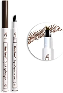 Music Flower Tattoo Brow Liquid Eyebrow Pen with Micro-Fork Tip, Microblading Pencil Fine Sketch, Smudge-proof Long Wear N...