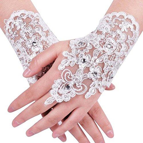 Ruiyuhong Short Tulle Flower Fingerless White Wedding Bridal Gloves GL003 (One Size, White/Tulle)