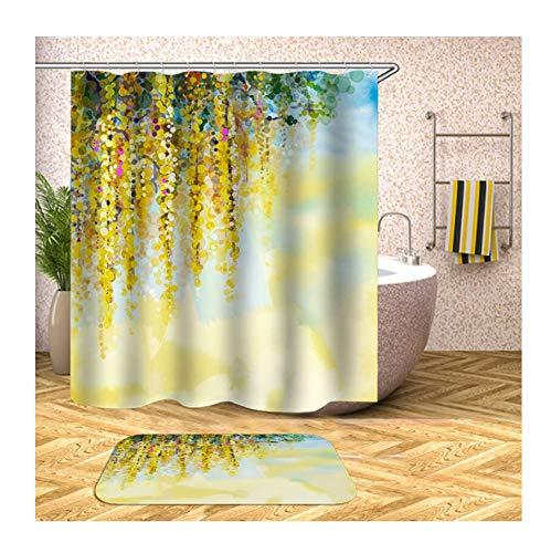 Knbob Polyester Duschvorhang & Badteppich Set Gelb Blumen Bad Vorhang Badvorleger 150x200CM mit 12 Duschvorhangringen