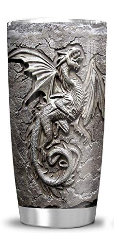 64HYDRO 20oz Printed Dragon Fossil Dragon Lover Viking Celtic Tumbler Cup with Lid, Double Wall Vacuum Sporty Thermos Insulated Travel Coffee Mug