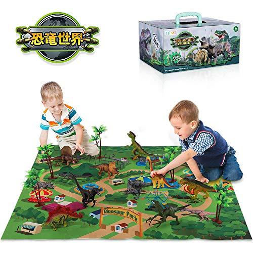 TEMI 恐竜世界モデルおもちゃ マット 木付き リアルな恐竜セット トリケラトプス ティラノサウルス・レックス ヴェロキラプトル 創造できる恐竜公園 女の子 男の子 知育玩具 子供玩具 誕生日 プレゼント パーティー飾り