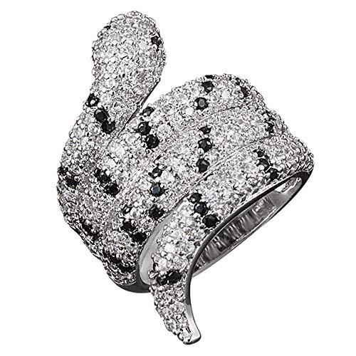 Onefeart Bianca Placcato Oro Anello Per le Donne Ragazze Rotondo Zirconia Cubic Creativo Design Serpente Forma Anello Oro Bianco 12