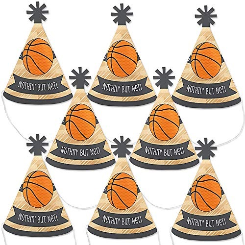 Big Dot of Happiness Nothin' but Net - Basketball - Mini Cone Baby Shower or Birthday Party Hats - Small Little Party Hats - Set of 8