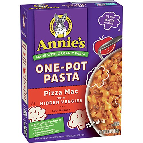 Annie's One-Pot Pasta, Pizza Mac with Hidden Veggies, 6.8 oz box (Pack of 8)