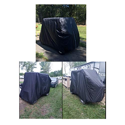 FLYMEI 4 Passenger Golf Cart Covers, Waterproof Outdoor Golf Cart Cover for EZ GO Club Car Yamaha Golf Carts, Sunproof Dustproof 4 Seat Club Car Cover Golf Cart Seat Covers (Up to 112 Inch)