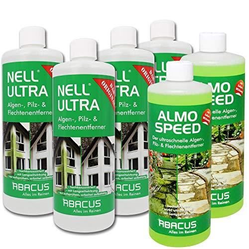 ABACUS Nell Ultra 4X 1000 ml Konzentrat + ALMO Speed 2X 1000 ml - Algenentferner Pilzentferner Flechtenentferner Grünbelagsentferner ohne Glyphosat Unkrautvernichter Grabsteinpflege Algenvernichter