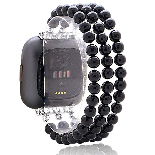 C&L Accessories Beaded Bands Compatible with Fitbit Versa 2 Bands Versa Bands/Versa Lite Bands, Handmade Elastic Beads Natural Black Agate Jewelry Bracelet Replacement Bands for Women Girls