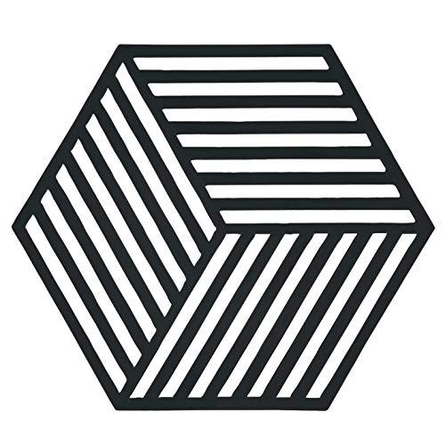 Dessous de Plat Design Hexagone Silicone Noir
