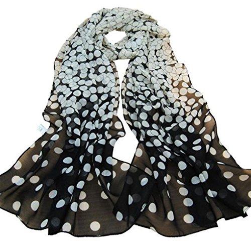 Sukisuki Vrouwen Mode Polka Stip Gedrukt Chiffon Sjaal Lange Sjalen Sjaal Wraps (Zwart)