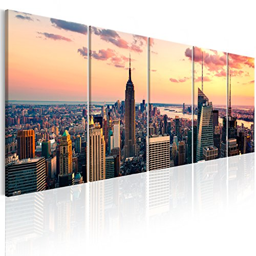 murando - Bilder New York 200x80 cm Vlies Leinwandbild 5 TLG Kunstdruck modern Wandbilder XXL Wanddekoration Design Wand Bild - Skyline NYC Stadt City d-B-0200-b-m