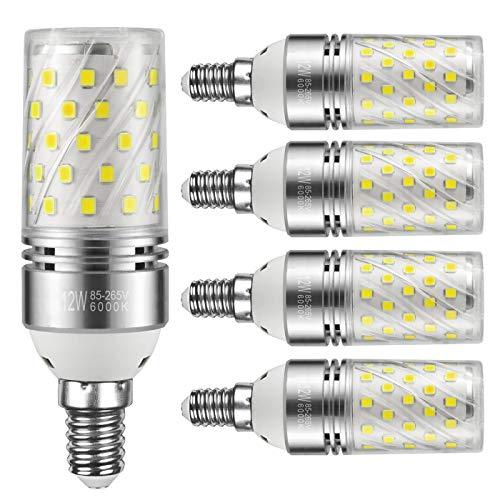 Yiizon lampadine LED di mais, candelabro a LED da 12 W, E14, 100W equivalenti a incandescenza, 6000K Bianca Freddo, 1200LM, CRI80+, non dimmerabile(5 pezzi)