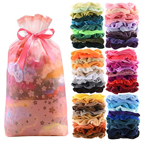 60 Pcs Premium Velvet Hair Scrunchies Hair Bands for Women or Girls Hair Accessories with Gift...