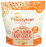 Happy Baby Organic Clearly Crafted Cereal Whole Grain Oats and Quinoa, 7 Ounce Bag Organic Baby Cereal in a Resealable Pouch with Iron to Support Baby's Brain Development a Great First Food