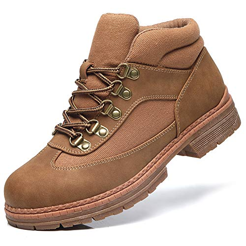 Combat Work Hiking Shoes Women - Ladies Outdoor Lace up Ankle Boots, Walking Non slip Hiking boots, Waterproof Lightweight shoes FNW008-Brown-7