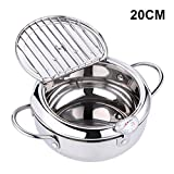 JKHK Temperature Control Fryer, Mini Household Tempura Fryer In Japanese Style with Pot Lid Strainer, Induction Cooker Gas Stove Universal Kitchen Non-Stick Stainless Steel Frying Pot