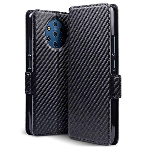 TERRAPIN, Kompatibel mit Nokia 9 PureView Hülle, Leder Tasche Hülle Hülle im Bookstyle mit Standfunktion Kartenfächer - Schwarz Karbonfaser Dessin