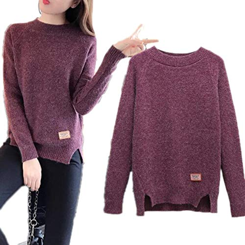 Bowen Jimmy Autumn Winter Round Neck Pullover Sweater Loose Short Sweater Warm Long Sleeve Knitted Sweater Red Wine S
