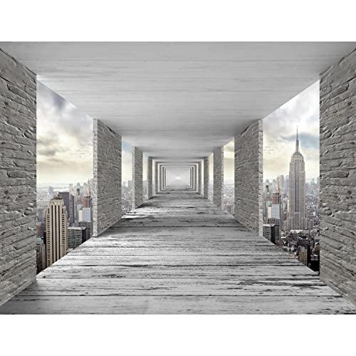 Fototapeten 396 x 280 cm 3D New York | Vlies Wanddekoration Wohnzimmer Schlafzimmer | Deutsche Manufaktur | Grau 9157012a