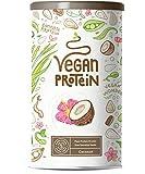 Proteina Vegana | COCO | Proteína vegetal de soja, arroz, guisantes, semillas de lino, amaranto, semillas de girasol y semillas de calabaza germinadas | 600g en polvo con sabor a Coco natural