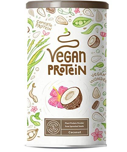 Proteina Vegana - COCO - Proteína vegetal de soja, arroz, guisantes, semillas de lino, amaranto, semillas de girasol y semillas de calabaza germinadas - 600g en polvo con sabor a Coco natural