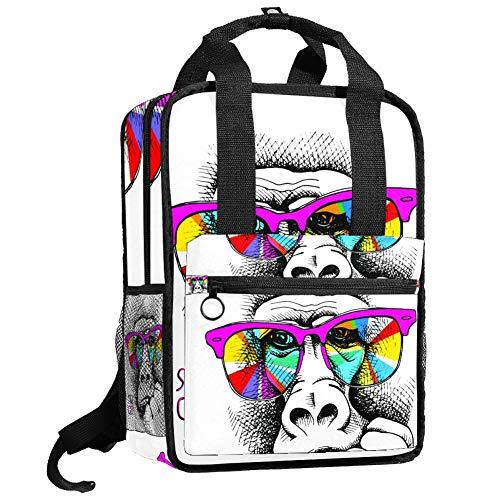 TIZORAX Rucksack für Damen, Affe in Pink, Sonnenbrille, für Teenager, Mädchen, Jungen, Schule, College, Büchertasche, Handtasche, gepolstert, Wandern, Reisen, lässiger Tagesrucksack