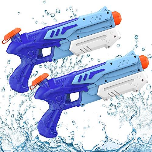 Kiztoys Pistola de Agua, 2 Pack 600ML Pistolas de Agua para Niños Niñas, Potente Chorro de Agua con un Alcance Largo 8m-10m, Water Pistol Gun para Batalla de Agua