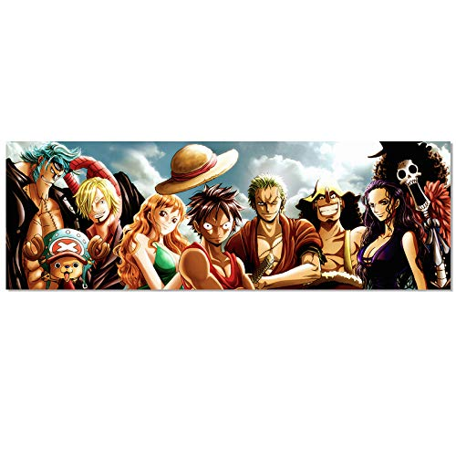 Anime One Piece The Straw Hat Pirates Poster Luffy Zoro Nami HD Print on Canvas Painting Wall Art for Living Room Decor Boy Gift (Unframed, 12x36inch)