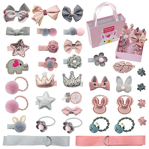 Comius 36 Pièces Fille Bébé Pinces à Cheveux Set, Bowknot Fleur Doux Épingle à Cheveux Accessoires pour Petites Filles Bébé Enfants ((Pink + Gray))