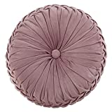 "Cassiel Home 14.5"" Pintuck Round Throw Pillow - Handcrafted Pumpkin Velvet Floor Pillow - Mauve Throw Pillows Cushion for Chair Couch(Solid Pink)"