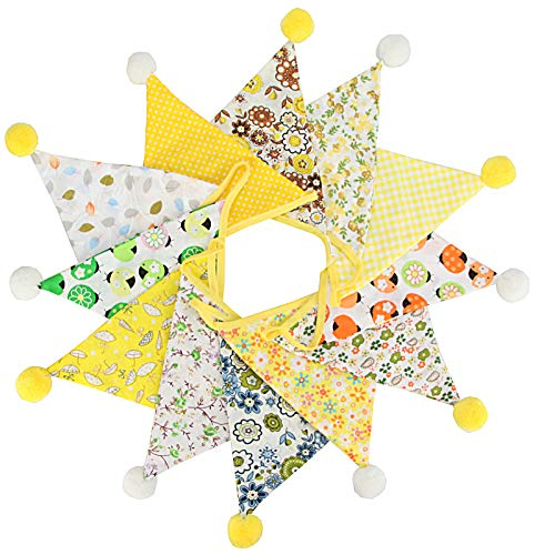 4M Fabric Bunting Banner with 12PCS Double Sided Cotton Pennants, 17x19CM Floral Triangle Garlands for Birthday Parties Ceremonies Kitchen Bedrooms Decoration-Yellow