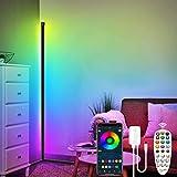 Lámpara de pie LED RGB color moderno estilo minimalista lámpara de pie para sala de estar, lámpara de pie de esquina de brillo ajustable con control remoto, para sala de estar, dormitorio, negro