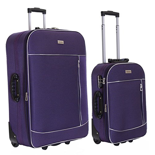 Slimbridge Set of 2 Luggage Suitcases Bags Expandable and Lightweight with 2 Wheels & Integrated Number Lock, Rennes Purple